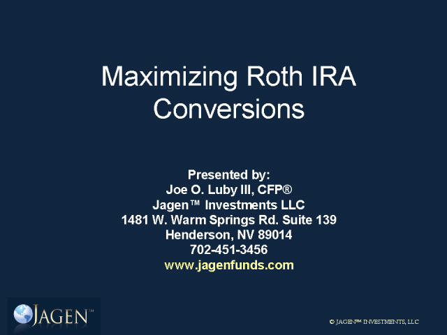 Advanced Roth Conversion Strategies