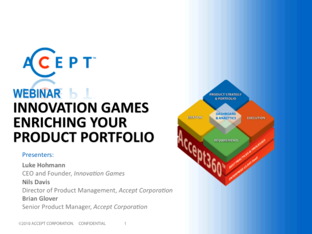 Innovation Games Enriching your Product Portfolio