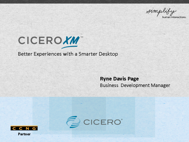 Introducing CCNG partner - Cicero