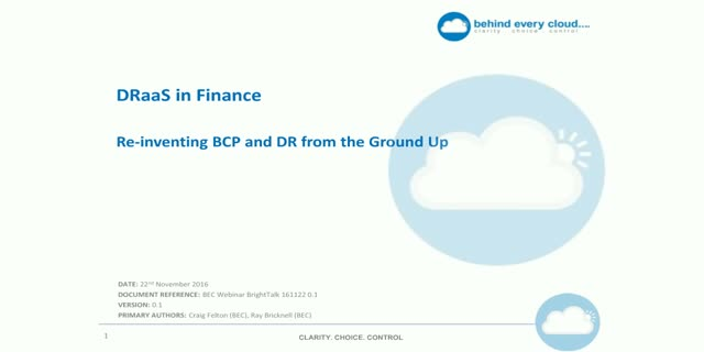 DRaaS in Finance: Re-inventing BCP and DR from the Ground up