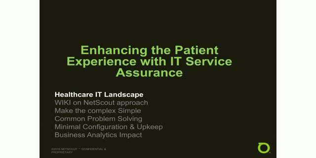 Enhancing the Patient Experience with IT Service Assurance