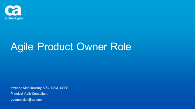 The Role of the Agile Product Owner