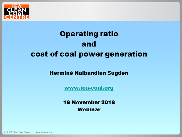 Operating ratio and cost of coal power generation