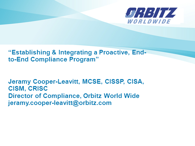 Establish & Integrate a Proactive, End-to-End Compliance Program
