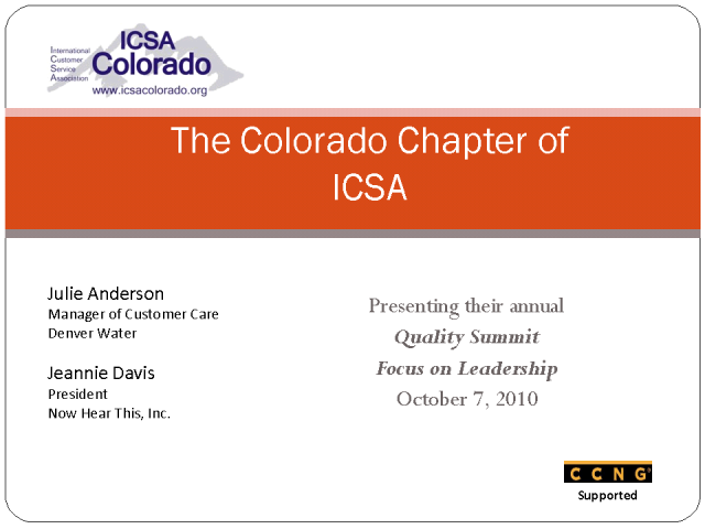 ICSA Colorado Chapter & their Quality Summit- Focus on Leadership