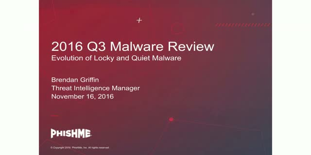 Q3 Malware Review:  Evolution of Locky and Quiet Malware
