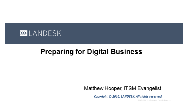 Preparing ITSM for Digital Business