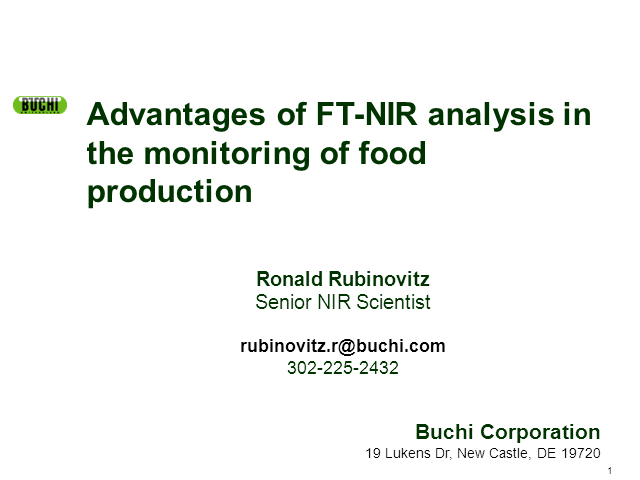 Advantages of FT-Near Infrared Analysis in the monitoring of food