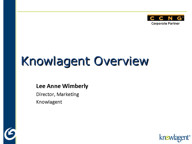 Introducing CCNG partner - Knowlagent
