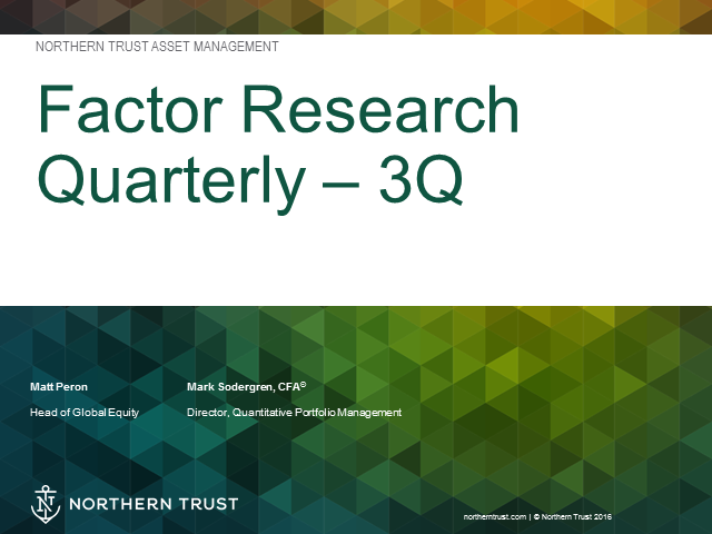 3Q Factor Research Quarterly