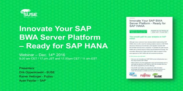 Innovate your SAP BWA server platform – Ready for SAP HANA