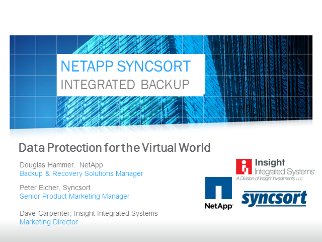 NetApp and Syncsort Integrated Backup