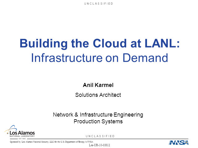 Building the Cloud at Los Alamos National Lab