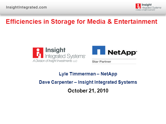 Efficiencies in Storage for Media & Entertainment