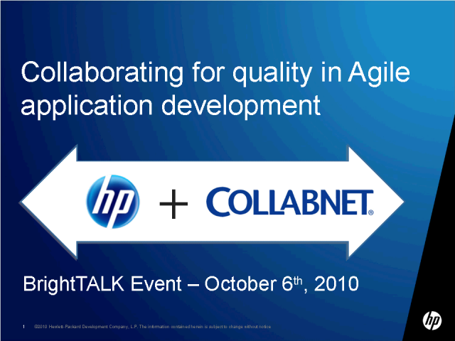 Collaborating for Quality in Agile Application Development