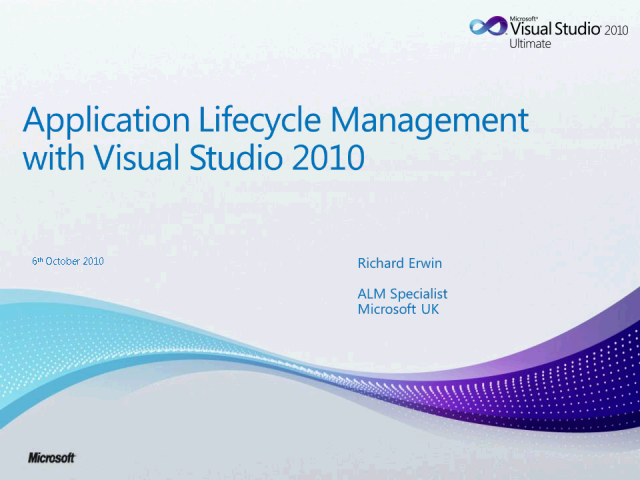Application Lifecycle Management - Microsoft Visual Studio 2010