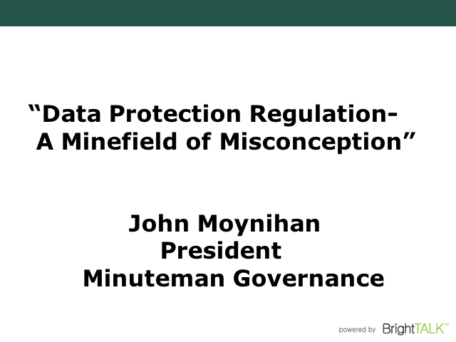 Data Protection Compliance: A Minefield of Misconception