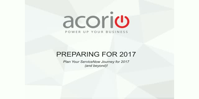 New Year Prep Class: Plan Your ServiceNow Journey for 2017 (and beyond!)