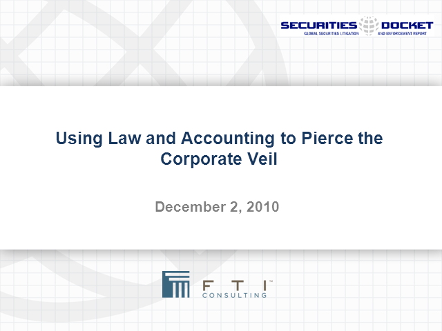 Using Law and Accounting to Pierce the Corporate Veil