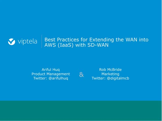 Best Practices for Extending the WAN to AWS