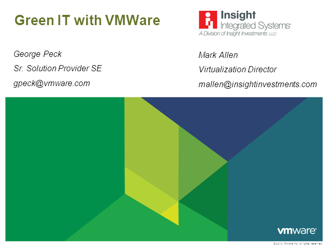 Reduce energy costs and go green with VMware