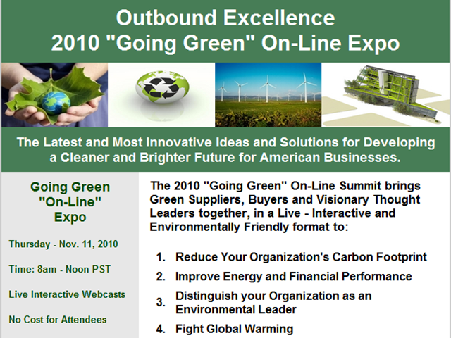 "2010 ""Going Green"" On-Line Expo - Session #1"