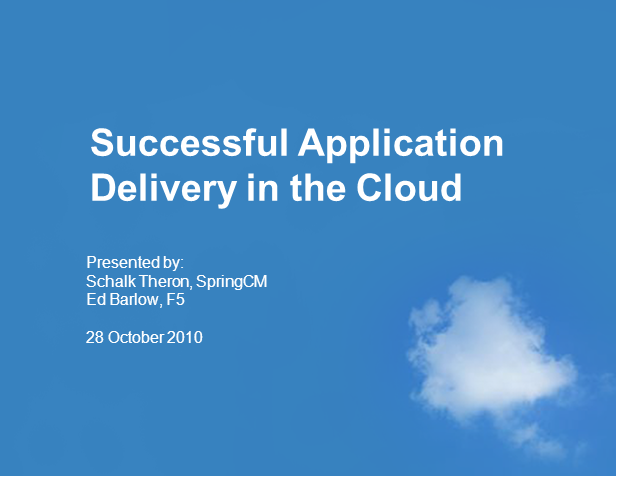 Successful Application Delivery in the Cloud