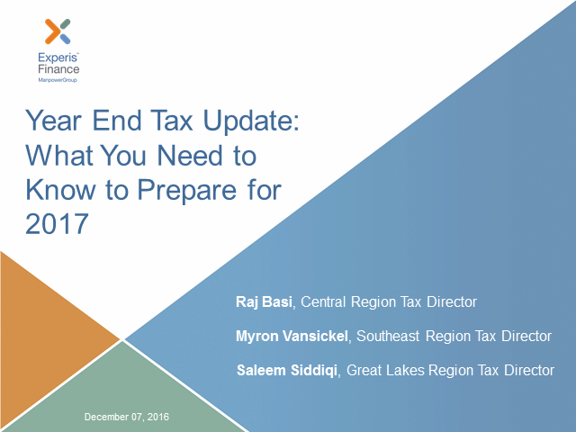 Year End Tax Update: What You Need to Know to Prepare for 2017