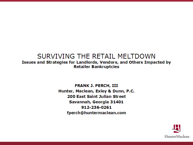 Surviving the Retail Meltdown