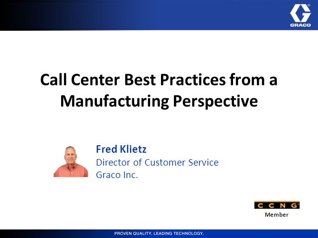Call Center Best Practices from a Manufacturing Perspective