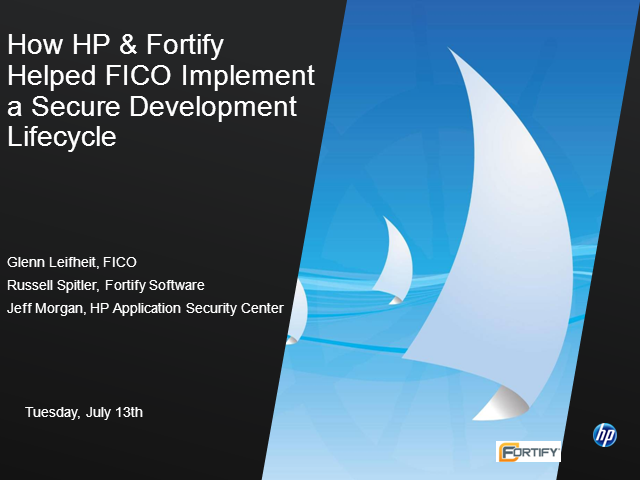 HP helped FICO Implement a Secure Development Lifecycle