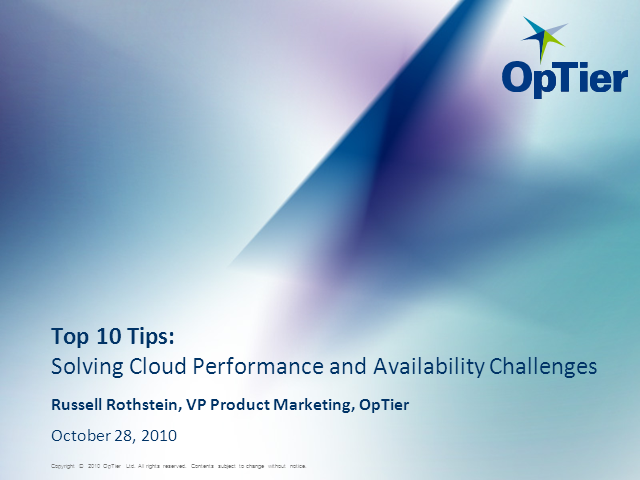 Top 10 Tips: Solving Cloud Performance & Availability Challenges