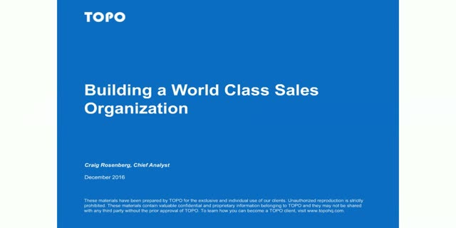 Building a World-Class Sales Organization