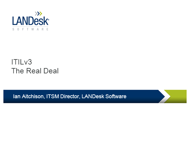 ITIL V3 – The Real Deal