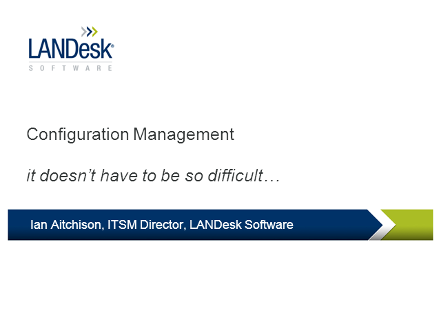 Configuration Management – It doesn't need to be so difficult