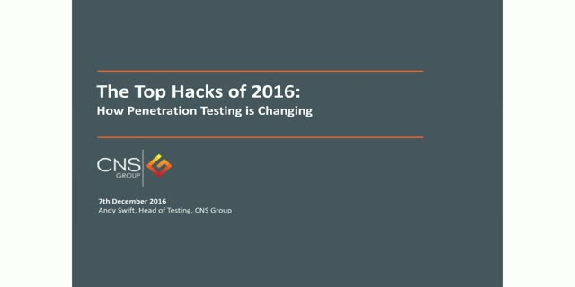 The top vulnerabilities of 2016 and the evolution of penetration testing