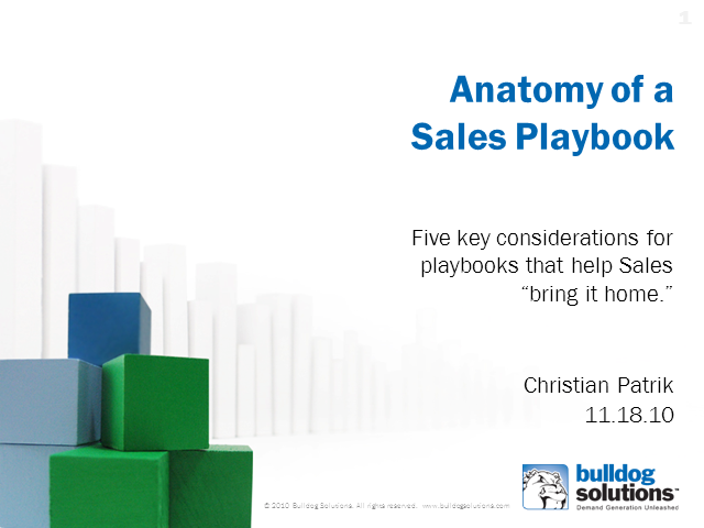 Anatomy of a Sales Playbook:  Helping Sales Close the Deal