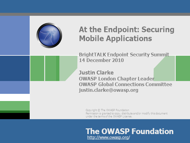At the Endpoint: Securing Mobile Applications