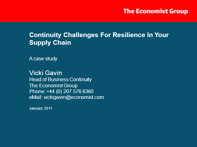 Continuity Challenges For Resilience In Your Supply Chain