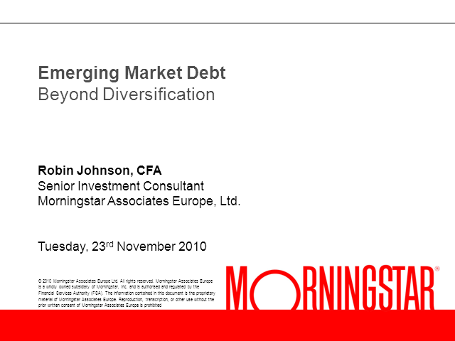 Emerging Market Debt: Beyond Diversification