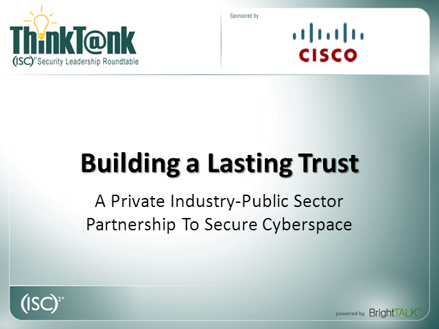 A private industry-public sector partnership to secure Cyberspace