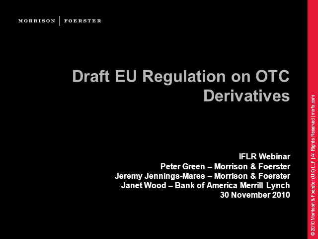 EU Regulation of OTC Derivatives