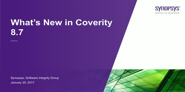 What's New in Coverity 8.7