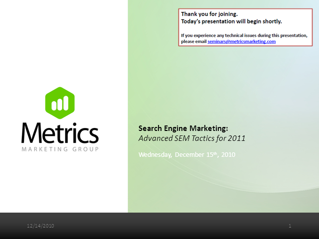 Advanced Search Engine Marketing (SEM) Tactics for 2011