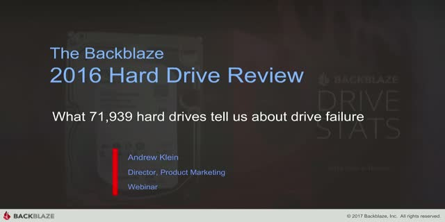 Backblaze Hard Drive Stats for 2016