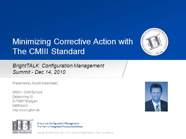 Minimizing Corrective Action with the CMII Standard