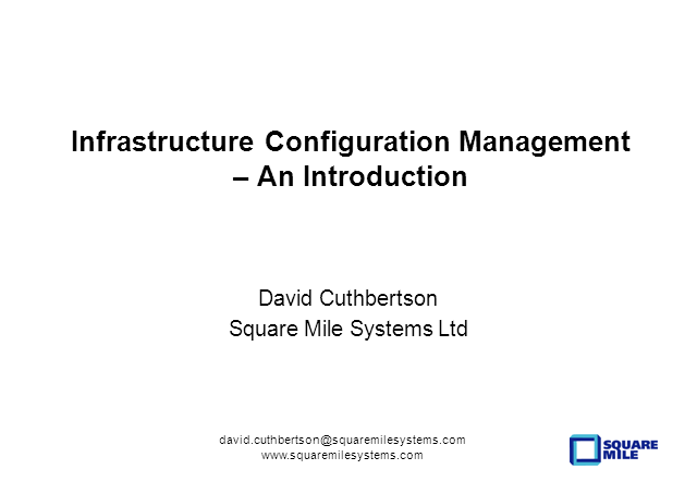 Infrastructure Configuration Management - An Introduction