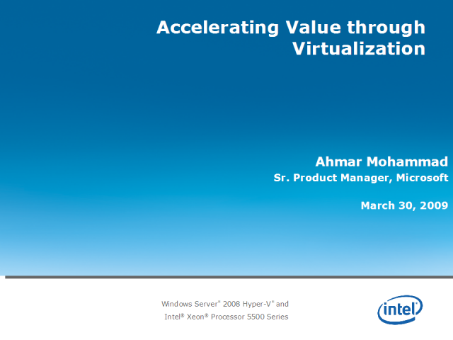 Accelerating Value through Virtualization