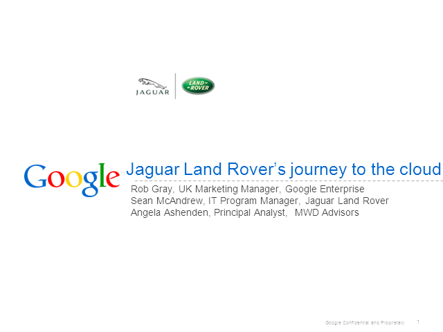 Jaguar Land Rover - our journey into the cloud