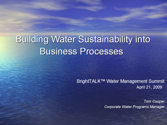 Building Water Sustainability into Intel's Business Processes